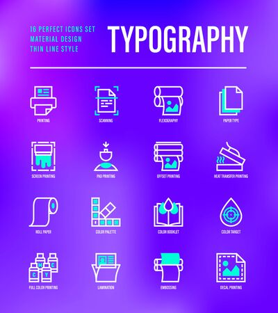 Typography, polygraphy thin line icons set. Printing, scanning, flexography, offset, roll paper, color palette, lamination, heat transfer printing, embossing. Vector illustration. Ilustração
