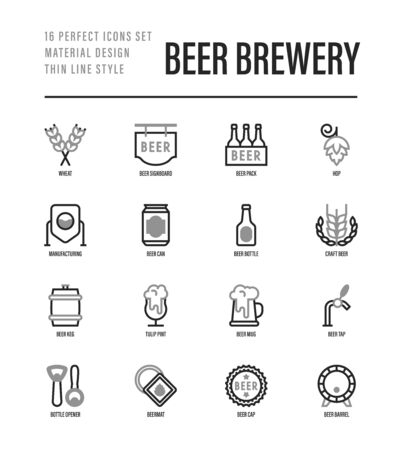 Beer brewery thin line icons set: manufacturing, craft, tap, mug, tulip pint, wheat, hop, bottle opener, barrel. Vector illustration for bar or restaurant. Çizim