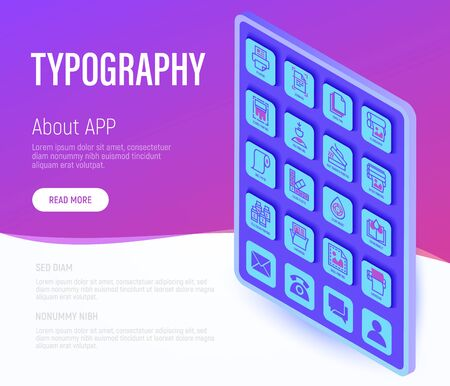 Typography, polygraphy web page template. Buttons on tablet with thin line isometric icons. Printing, scanning, flexography, offset, lamination, heat transfer printing. Vector illustration.