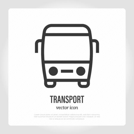 Tourist bus thin line icon, front view. Logo for public transport. Vector illustration.