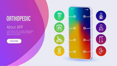 Orthopedic web page template with copy space. Mobile app on smartphone with thin line icons: Flat foot, scoliosis, electric wheelchair, walking stick, bone fracture. Vector illustration. Ilustracja