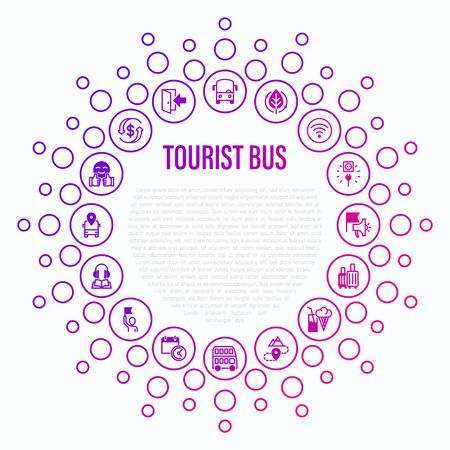 Tourist bus concept in circle shape. Thin line icons: free wifi, schedule, emergency exit, tourist route, departure point, socket, audio guide, luggage, refund, double decker. Vector illustration.