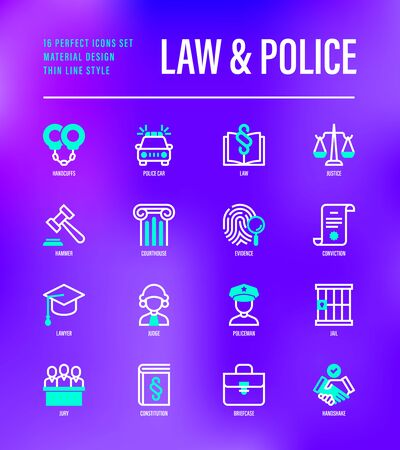 Law and police set. Policeman, judge, prosecutor, lawyer, court, prison, fingerprint, conviction, evidence flat line icons. Vector illustration.