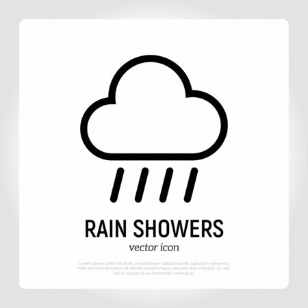 Rain showers icon. Weather symbol in flat style. Modern vector illustration.