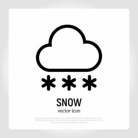Snow icon: snowflakes falling from cloud. Weather symbol in flat style. Modern vector illustration.