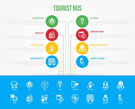 Tourist bus infographic with thin line icons: free wi-fi, schedule, emergency exit, tourist route, departure point, socket, audio guide, luggage, refund, double decker. Template with copy space. Vector illustration.