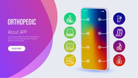 Orthopedic web page template with copy space. Mobile app on smartphone with thin line icons: scoliosis, compression stockings, mattress, pillow, walking stick, bone fracture. Vector illustration. Ilustracja