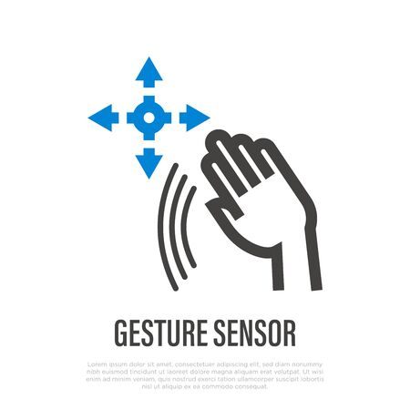 Hand gesture sensor. Recognition and hand tracking of virtual reality. Thin line icon. Vector illustration.