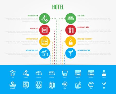 Hotel infographics template with copy space and thin line icons: rating, pet allowed, single bed, double bed, elevator, arrival date, departure date, heating, breakfast, bar. Vector illustration.
