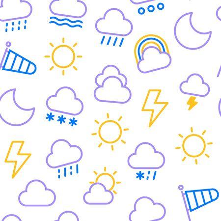 Weather seamless pattern. Flat icons: rain, overcast, partly cloudy, fog, snow, thunderstorm, hail, sleet, rainbow. Vector illustration for mobile app or widget.