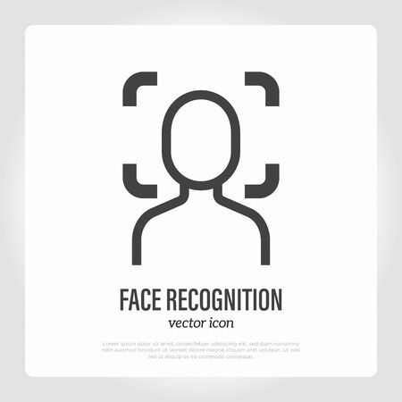 Face recognition, scanning for authentication. Protection for smartphone. Vector illustration.