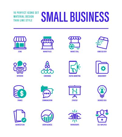 Small business thin line icons set. Marketplace, market stall, home delivery, job interview, coworking, startup, digital marketing, finance, growth chart, partnership, self employed. Vector illustration. 向量圖像