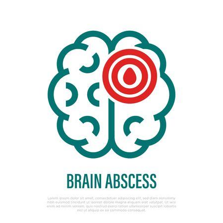 Brain abscess thin line icon. Inflammation and pain in brain. Headache, migraine. Vector illustration.