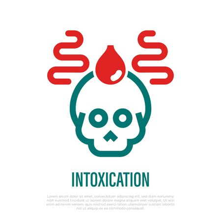 Intoxication thin line icon. Skull with drop of blood. Virus, poisonous food or alcohol, biohazard. Vector illustration.