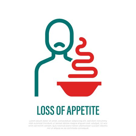 Loss of appetite thin line icon. Symptom of illness or infection. Sad man sitting near plate with food. Vector illustration. 写真素材 - 149005548