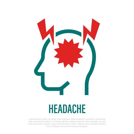 Headache or migraine thin line icon. Acute pain in head. Symptom of brain abscess. Vector illustration.