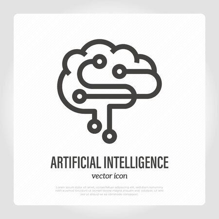 Artificial intelligence thin line icon. Machine learning.  for deep tech. Vector illustration.