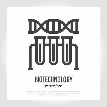 Biotechnology thin line icon. DNA and test tubes. Bioengineering. Lab research. Vector illustration.