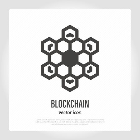 Blockchain symbol. Thin line icon. Cryptocurrency transaction data. Vector illustration of deep tech.