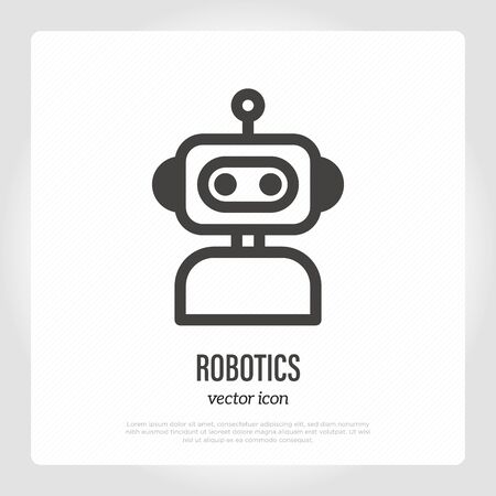 Robotics thin line icon: cute robot.  for ai, chatbot.  for virtual online support. Vector illustration.