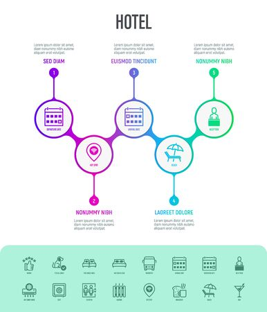 Hotel infographics with thin line icons. Rating, pet allowed, single bed, double bed, elevator, arrival date, departure date, heating, reception, wi-fi. Vector illustration, template with copy space.