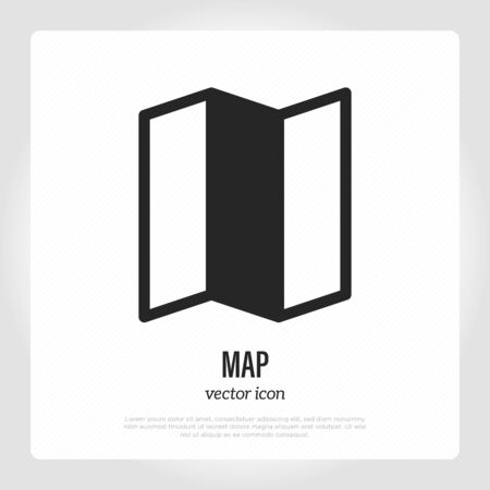 Folded map thin line icon. Location symbol. Vector illustration.