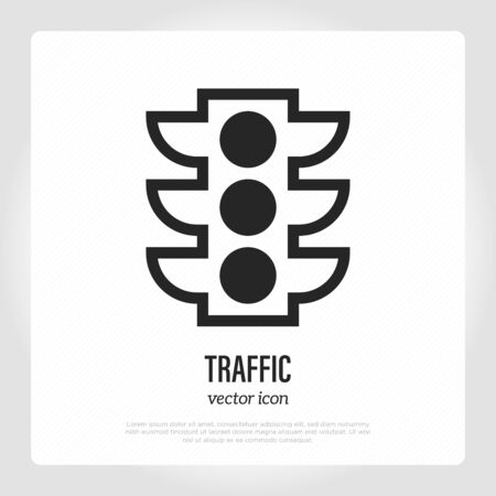 Traffic light thin line icon. Stoplight. Vector illustration.