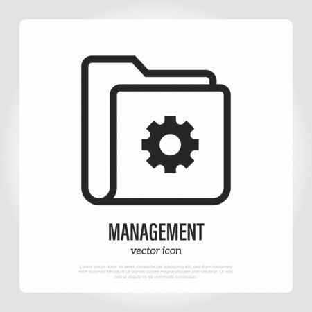 Management thin line icon. Folder with gear sign. Optimization of working process. Vector illustration.