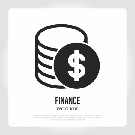 Finance symbol. Stack of dollar coins. Money exchange, profit, bank investment. Vector illustration.  Illustration