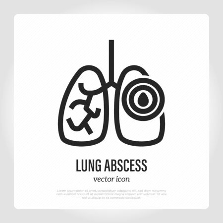 Lung abscess thin line icon. Pus pocket in lungs. Inflammation and pain. Vector illustration. Illustration