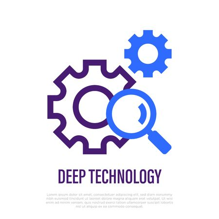 Deep technology  . Thin line icon. Artificial intelligence, deep learning. Magnifier with cogwheels. Vector illustration. Illustration