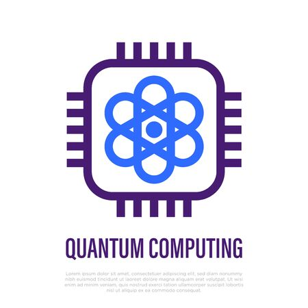 Quantum computing thin line icon. Model of atom in microchip. Deep learning, artificial intelligence. High tech. Vector illustration. Illustration