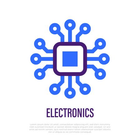 Microchip thin line icon. Symbol of electronic technology. Vector illustration.