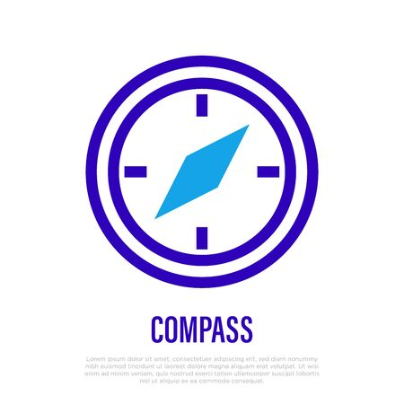 Compass thin line icon. Navigation equipment. Vector illustration.