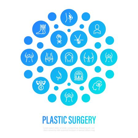 Plastic surgery concept in circle shape. Thin line icons. Breast enlargement, reduction, mastopexy, implant, liposuction, facelift, rhinoplasty, buttock lift, hair replacement, abdominoplasty. Vector illustration.