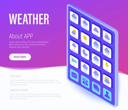 Weather web page template. Buttons on tablet with flat isometric icons. Rain, overcast, partly cloudy, fog, snow, thunderstorm, hail, sleet, rainbow. Vector illustration. Illustration