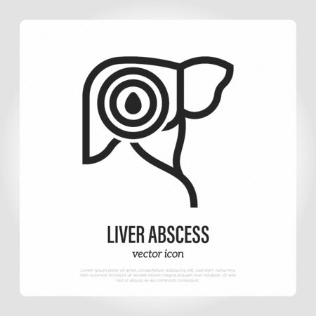 Liver abscess thin line icon. Inflammation and acute pain in abdomen. Mass with pus. Vector illustration. Ilustracja
