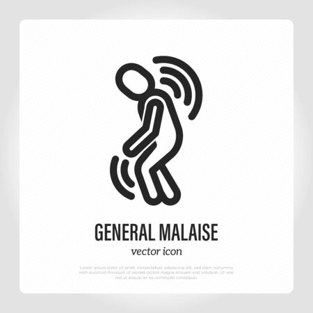 General malaise thin line icon, first sign of illness or infection. Tiredness, depression, feeling of discomfort. Burnout syndrome. Vector illustration. Vectores