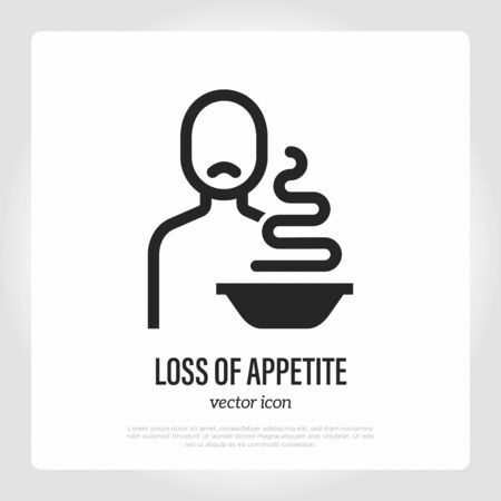 Loss of appetite thin line icon. Symptom of illness or infection. Sad man sitting near plate with food. Vector illustration. 写真素材 - 149018881