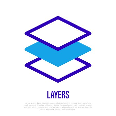 Layers thin line icon. Stack of paper. Vector illustration. Illustration