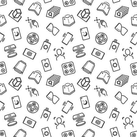 Modern mobile technology seamless pattern with thin line icons. Foldable smartphone, face recognition, curved edges, gesture sensor, sliding front camera, vr, wireless charger, deep photo analysis. Vector illustration.