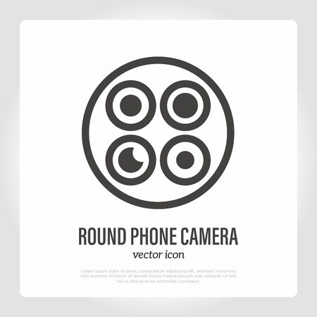 Round phone camera thin line icon. Mobile technology. Vector illustration. Illustration