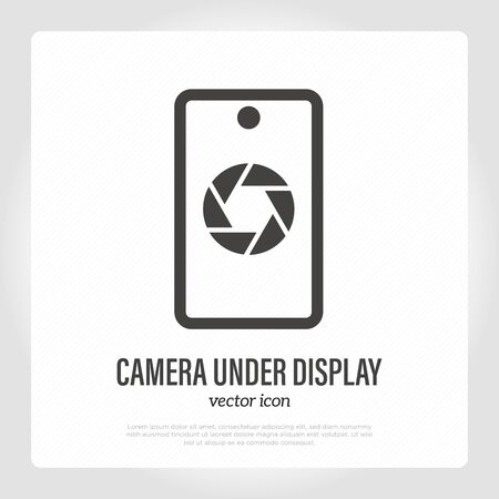 Camera under display on smartphone. Thin line icon. Mobile technology. Modern vector illustration.