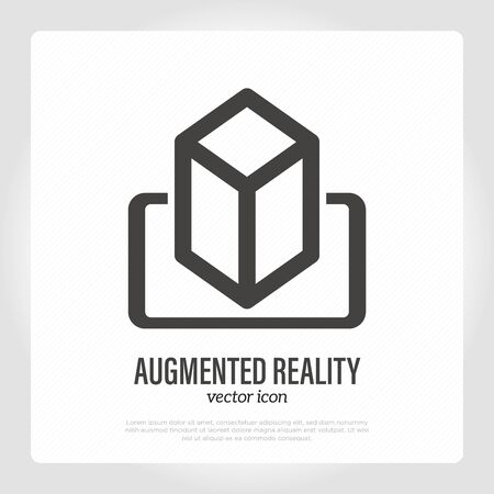 Augmented reality on smartphone thin line icon. Mobile technology. Vector illustration.