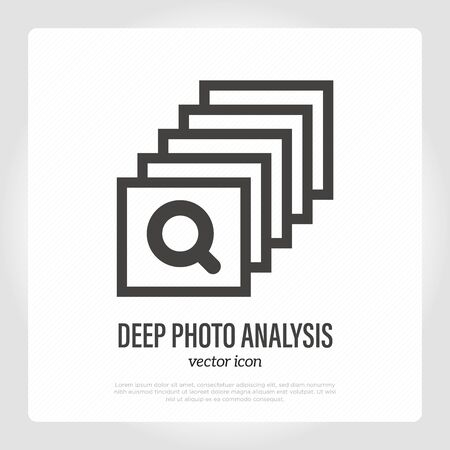 Deep photo analysis thin line icon. Stack pf photos with magnifier, Mobile technology. Artificial Intelligence for optimization quality of photograph. Vector illustration. Illustration