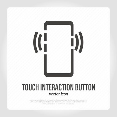 Side touch interaction button on smartphone. Thin line icon. Vector illustration.