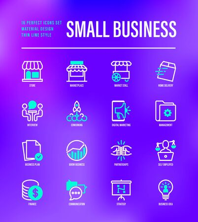 Small business thin line icons set. Marketplace, market stall, home delivery, job interview, coworking, startup, digital marketing, finance, growth chart, partnership, self employed. Vector illustration. Illustration