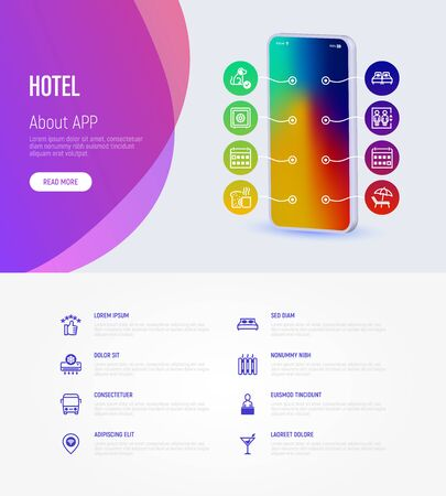 Hotel infographics web page template with copy space. Mobile app on smartphone with thin line icons. Rating, pet allowed, single bed, double bed, elevator, heating, reception. Vector illustration. Illustration