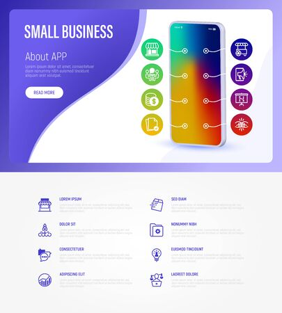Small business web page template with copy space. Mobile app on smartphone with thin line icons. Marketplace, market stall, job interview, coworking, startup, self employed. Vector illustration.