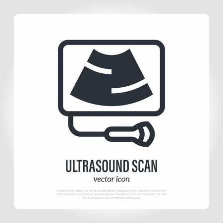 Ultrasound scan logo. Thin line icon. Medical equipment. Vector illustration.